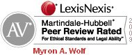 LexisNexis Martindale-Hubbell Peer Review Rated For Ethical Standards and Legal Ability | Myron A. Wolf